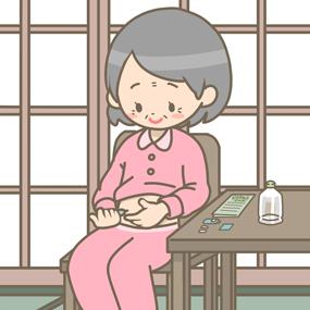 インスリン注射をする高齢女性患者さんのイラスト