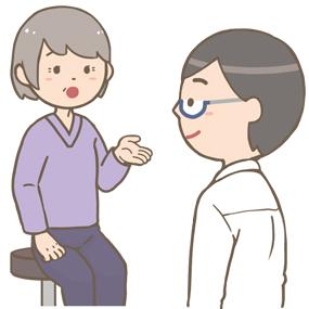 外来の患者さん(高齢女性)の問診をする医師のイラスト