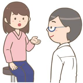 外来の患者さん(若い女性)の問診をする医師のイラスト