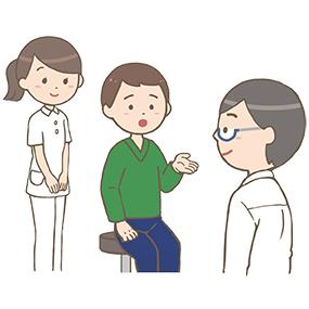 問診をする医師と看護師のイラスト