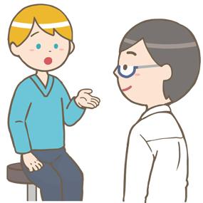 外来の患者さん(白人男性)の問診をする医師のイラスト