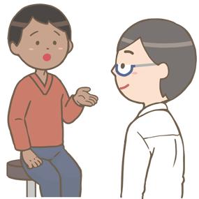 外来の患者さん(黒人男性)の問診をする医師のイラスト