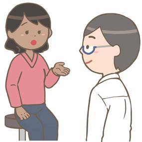 外来の患者さん(黒人女性)の問診をする医師のイラスト