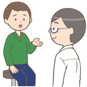 外来の患者さん(若い男性)の問診をする医師のイラスト
