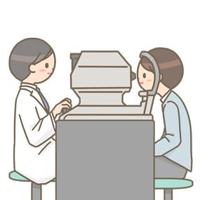 眼圧検査のイラストです。目に空気を当て硬さを測定し、眼球内圧の変化を調べます。