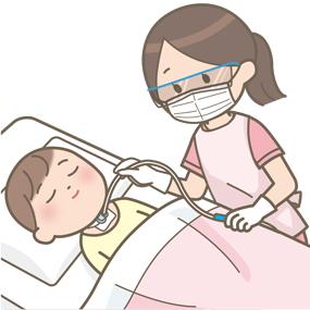 気管切開をしている乳幼児の気管内吸引のイラスト