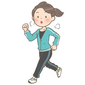 健康(ダイエット)のためにジョギング(走る)をする若い女性のイラストです。長ズボンのジャージを履いています。