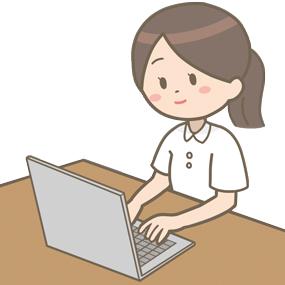 ノートパソコンを使用する看護師のイラスト