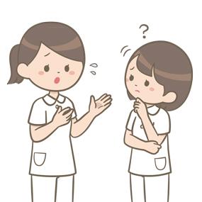 指導者の説明を理解できない新人看護師のイラスト