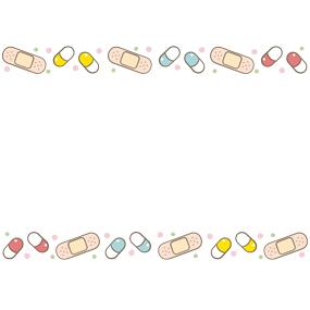 ばんそうこうと薬のカプセルのライン