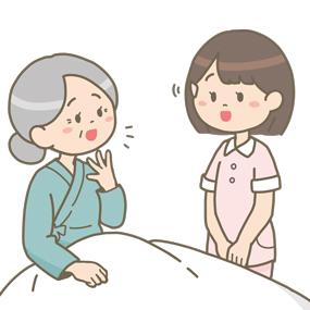 看護学生さんが高齢女性患者さんの話を聞いている(傾聴)イラストです。