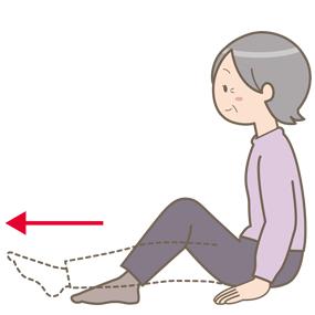 座位で膝を伸ばしている高齢女性のイラスト