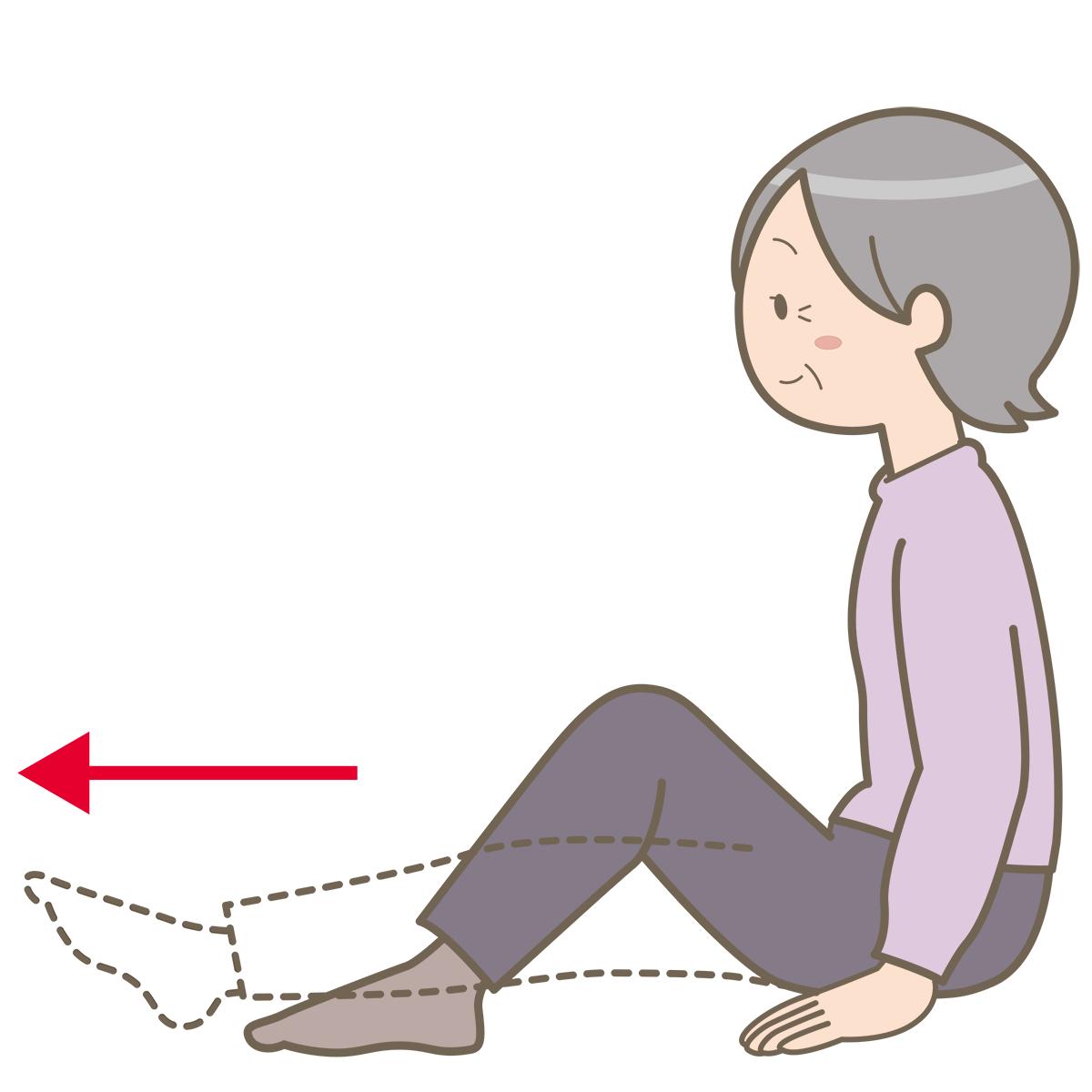 座位で膝を伸ばしている高齢女性のイラストフリー素材看護roo
