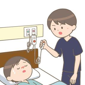 ナースコールを押し応援要請をする看護師のイラスト
