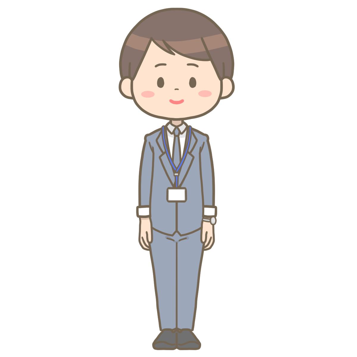 スーツ姿の男性社会福祉士のイラストフリー素材看護rooカンゴルー