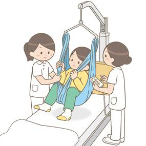 移動式リフトを使用する患者さんと看護師のイラスト