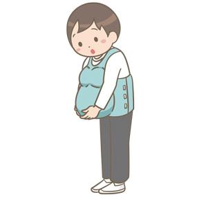 妊婦体験ジャケットを着用している男性のイラスト