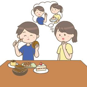 食事の好みが変わった男性のイラスト