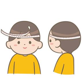 健診で頭囲を測定する幼児のイラスト