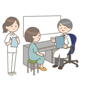 診察をする医師と中年女性のイラスト