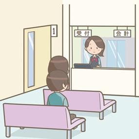 受付にいる医療事務員と待合室のイラスト