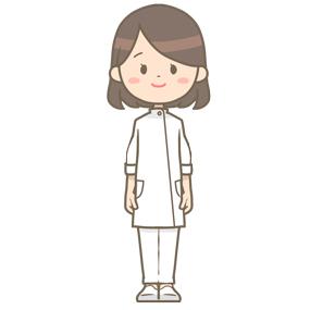 笑顔で立っている女性技師のイラストです。
