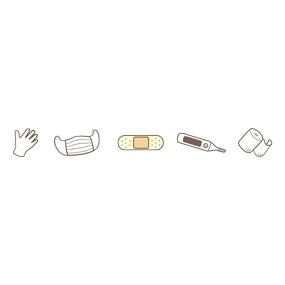 医療器具モチーフ(手袋・マスク・ばんそうこう・体温計・包帯)のライン