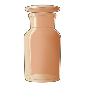 茶色の薬品瓶(薬瓶)のイラスト