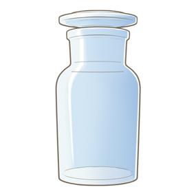 透明の薬品瓶(薬瓶)のイラスト