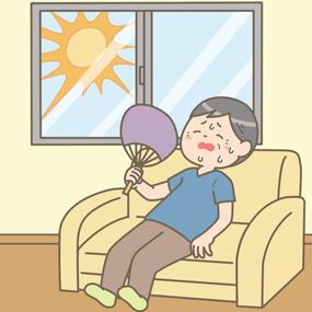 室内で暑さのため汗をかいてぐったりしている男性のイラスト