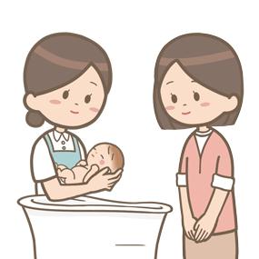 助産師がお母さんに沐浴の指導をしているイラスト