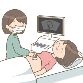 妊婦健診している助産師のイラスト