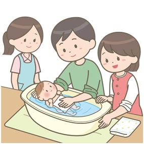 両親学級で沐浴の指導をしている助産師のイラスト