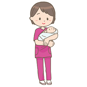 赤ちゃん(新生児)を抱っこする助産師さんのイラストです。赤ちゃんはおくるみに包まれています。