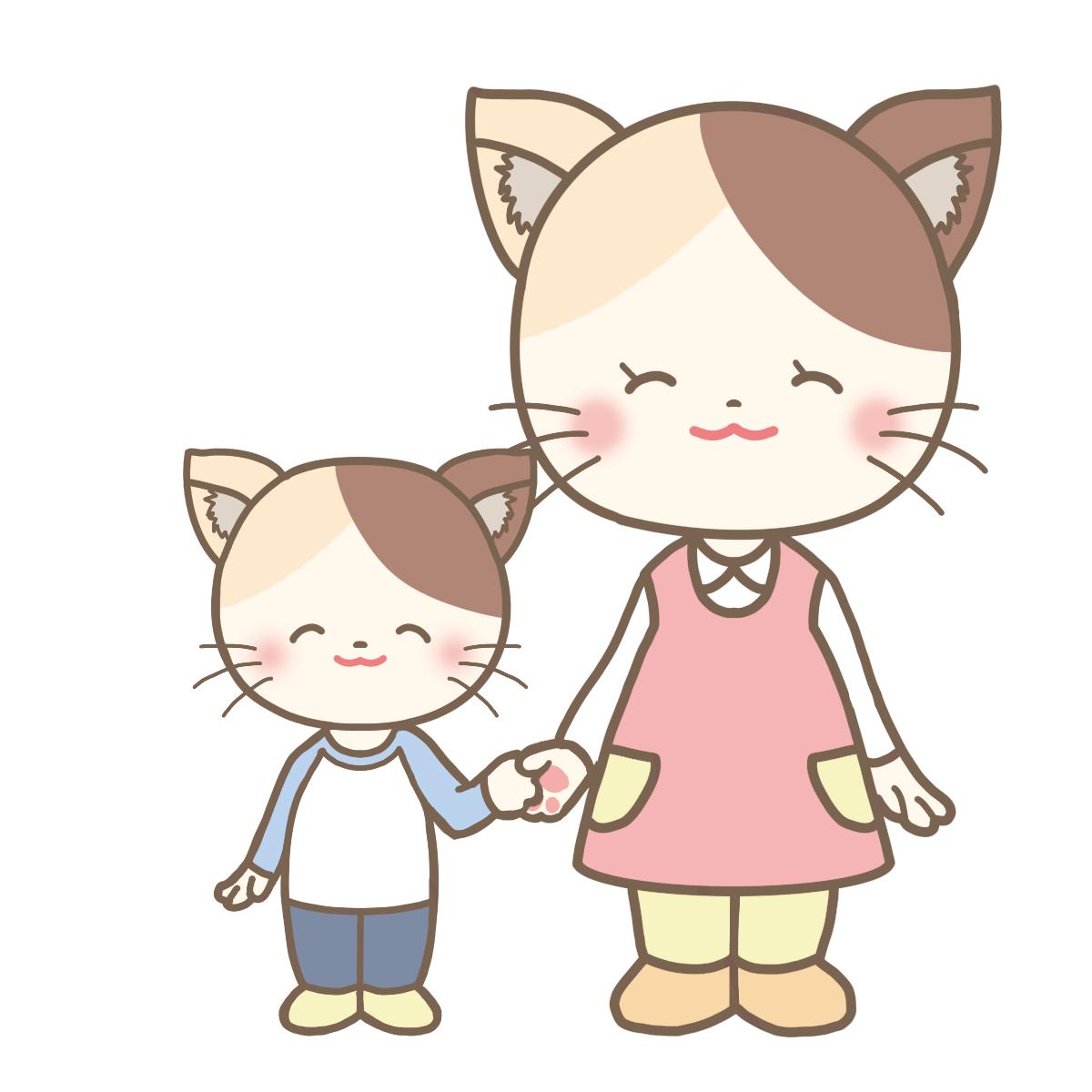 ネコの親子が笑顔で手を繋いでいるイラストフリー素材看護roo
