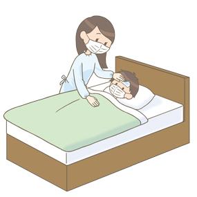 個人防護具を装着した母親が小児の看病をしているイラスト