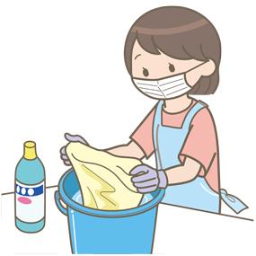マスク、手袋、エプロンをつけた母親が洗濯しているイラスト