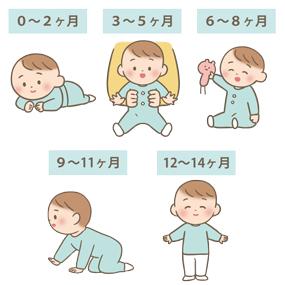 小児の運動発達のイラスト