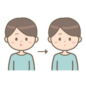 頬の運動をしている男性のイラスト