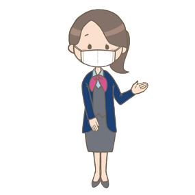 マスクをつけている医療事務員(女性)のイラスト