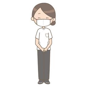 マスクをつけている健診会場のスタッフ(女性)のイラスト