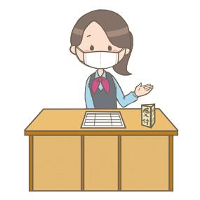 マスクをつけている受付の医療事務員(女性)のイラスト