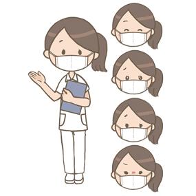 マスクをつけている看護師(女性)のイラスト