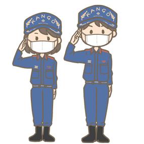 マスクをつけている救急隊員(男性、女性)のイラスト