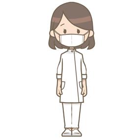 マスクをつけている技師(女性)のイラスト