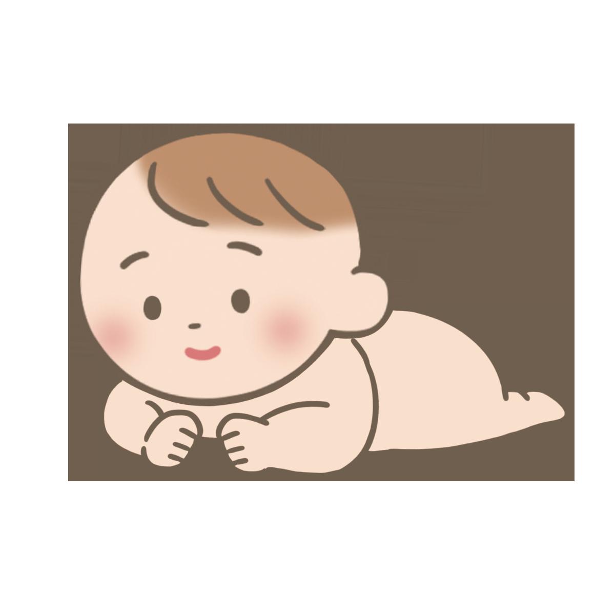 うつぶせで顔を上げている裸の赤ちゃんのイラストフリー素材看護
