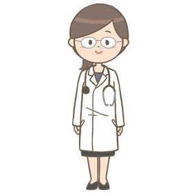 女性医師のイラスト(メガネ)
