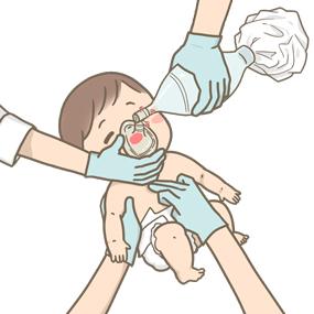 NCPR(新生児蘇生法)を行っている様子のイラスト