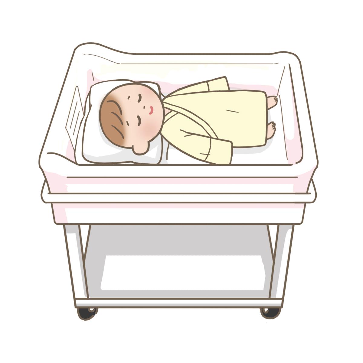 コットで眠っている赤ちゃんのイラスト(全体)