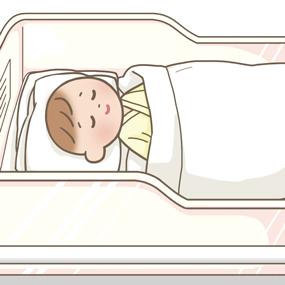 コットで眠っている赤ちゃんのイラスト